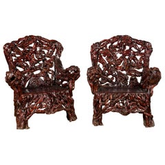 Chinese Handcrafted Dark Azalea Root Armchairs from China