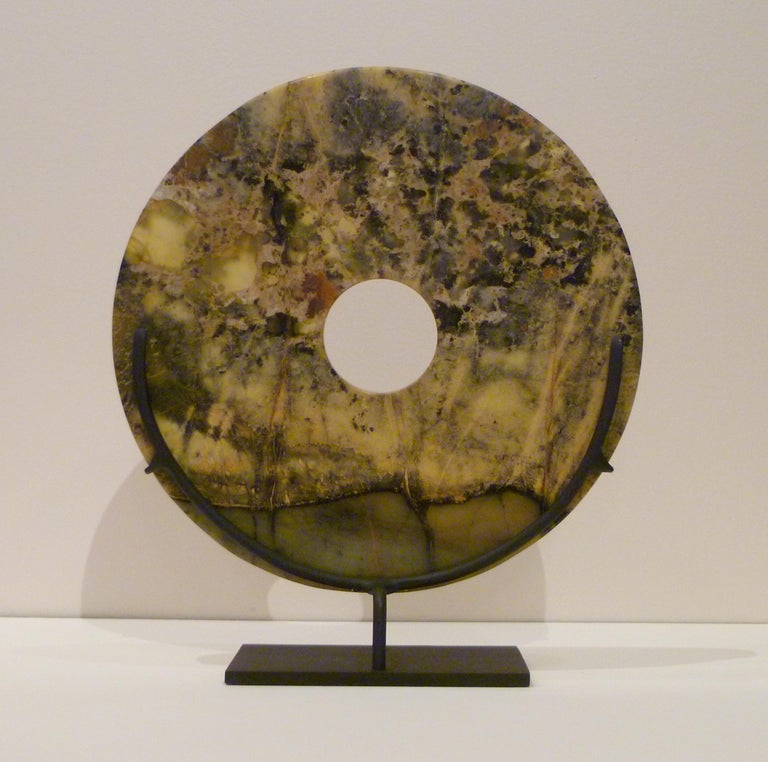 Hand-Carved Asian Hard Stone Disc For Sale