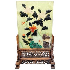 Chinese Hard Stone Jade and Cral Table Tea Screen