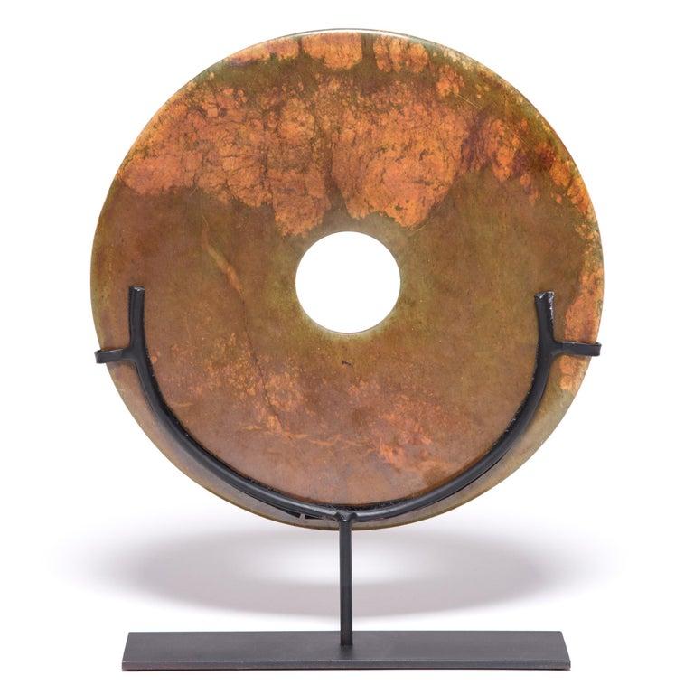 Polished Chinese Hardstone Bi Disc For Sale