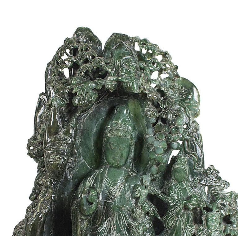This Chinese hardstone carving of Guanyin is a large late 20th century statue superbly representing the