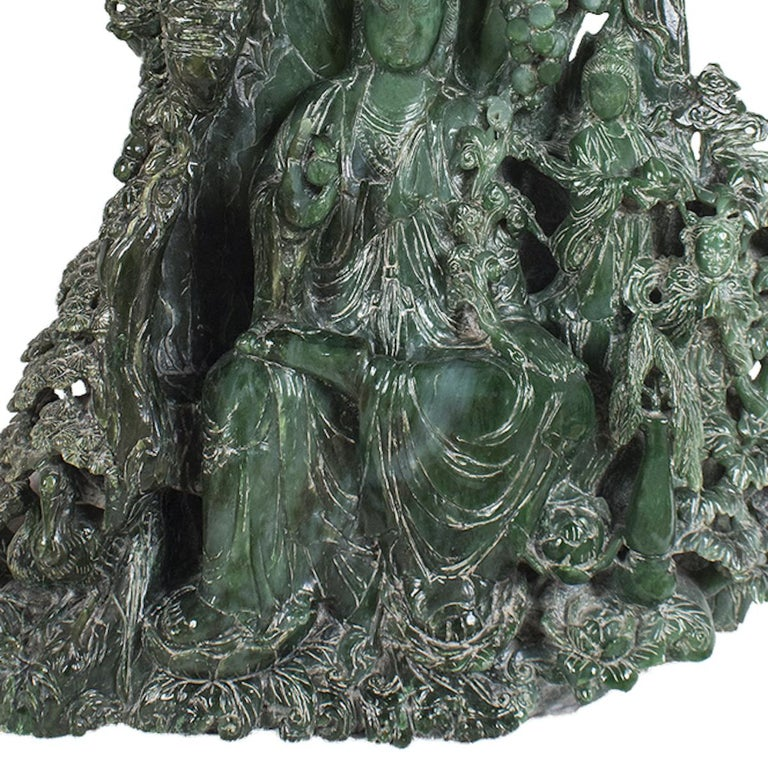 Carved Chinese Hardstone Carving of a Guanyin, China, Late 20th Century For Sale