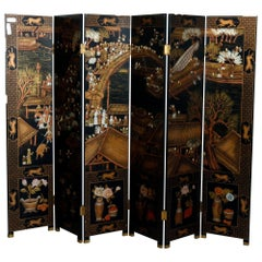Chinese Hardstone Chinoiserie Decorated Oriental 6 Panel Screen, 20th Century