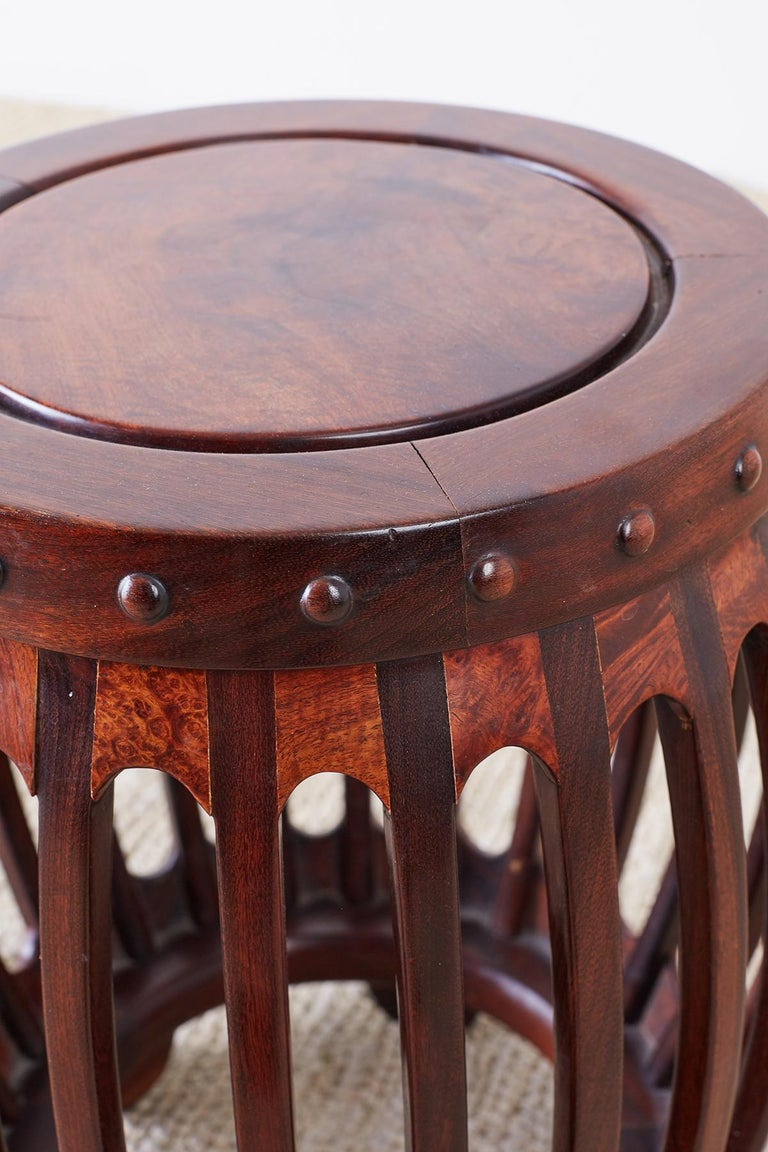 Chinese Hardwood Carved Drum Stool or Drink Table For Sale 4
