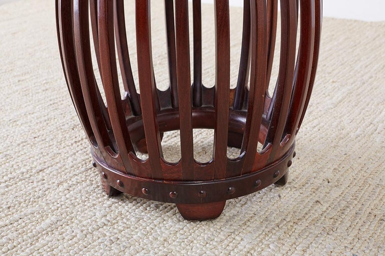 Chinese Hardwood Carved Drum Stool or Drink Table For Sale 5