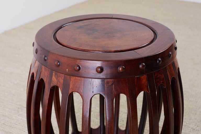 Chinese Hardwood Carved Drum Stool or Drink Table For Sale 8