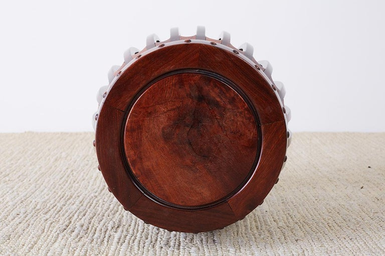 Chinese Hardwood Carved Drum Stool or Drink Table For Sale 9