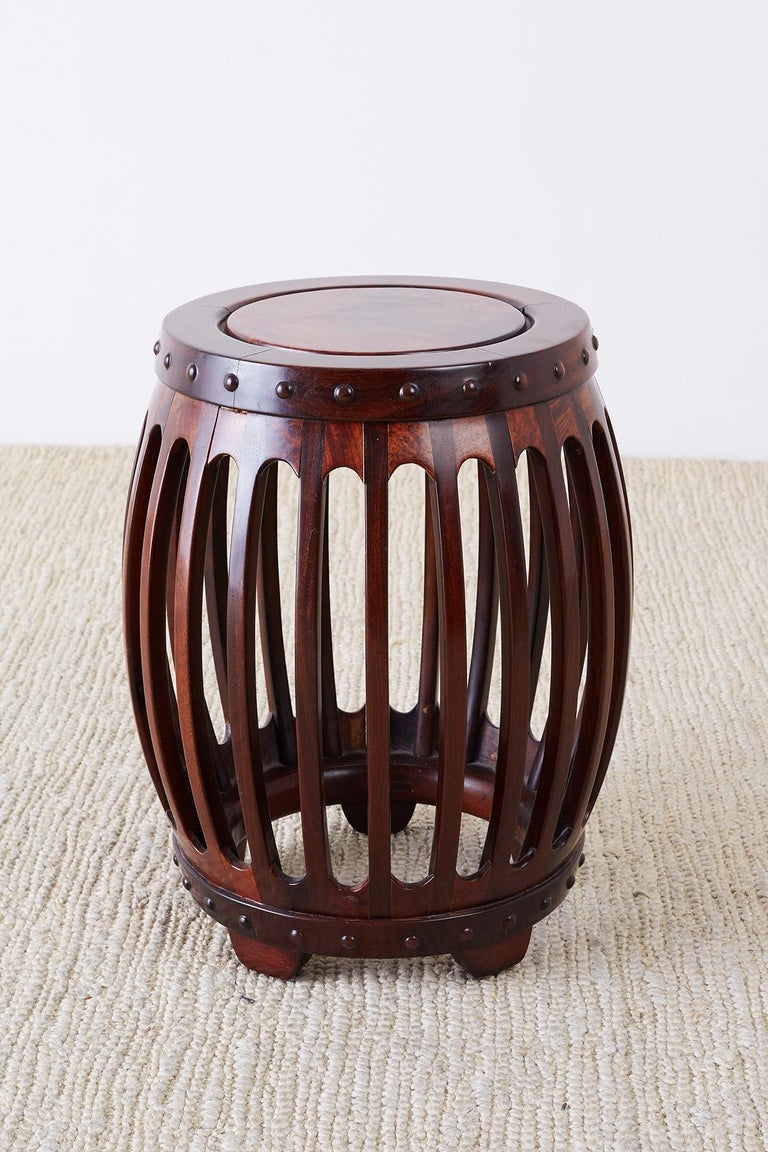 Chinese Export Chinese Hardwood Carved Drum Stool or Drink Table For Sale