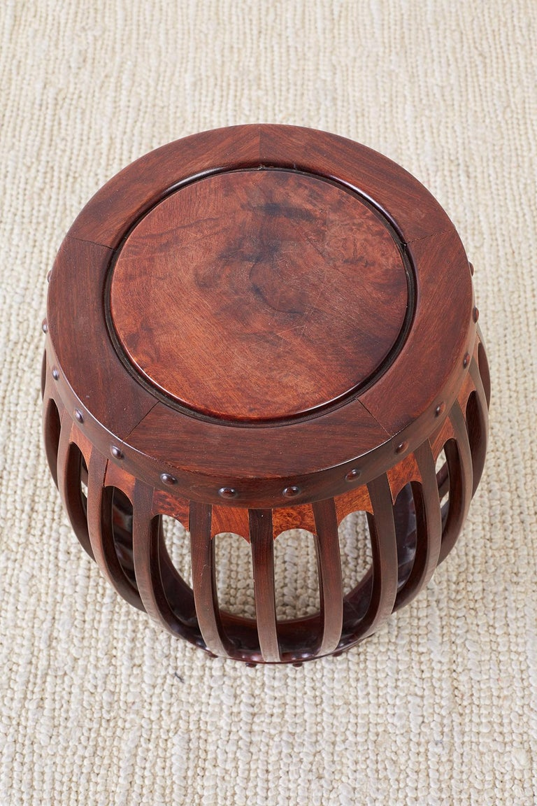 Hand-Crafted Chinese Hardwood Carved Drum Stool or Drink Table For Sale