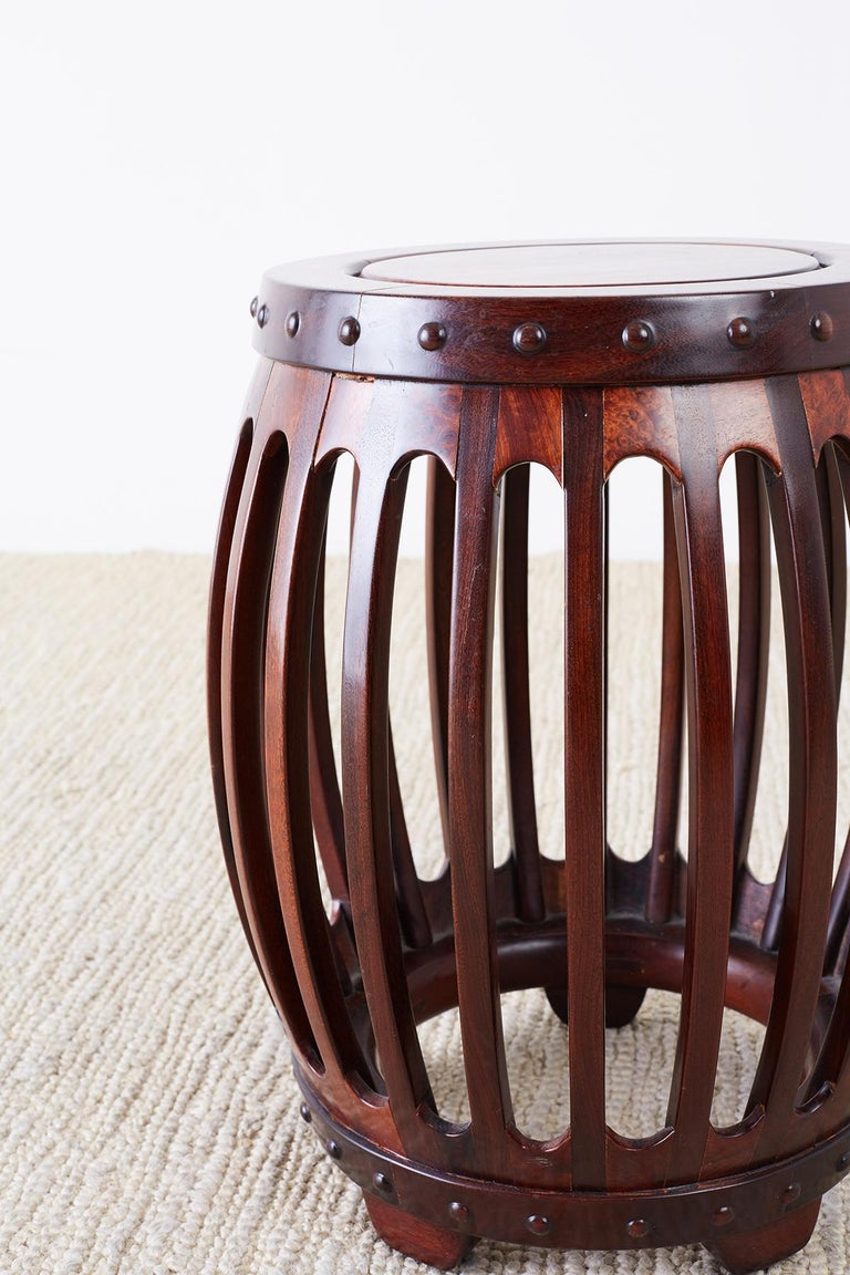 Chinese Hardwood Carved Drum Stool or Drink Table In Good Condition For Sale In Oakland, CA