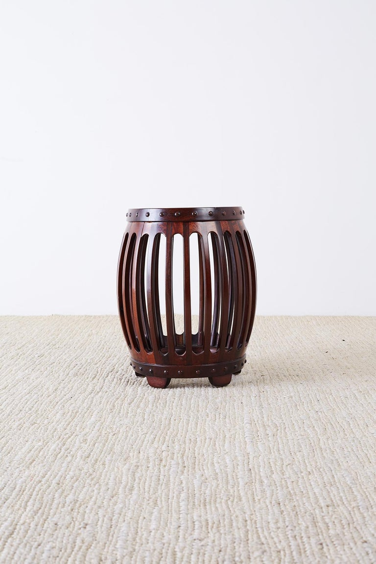 Chinese Hardwood Carved Drum Stool or Drink Table For Sale 2