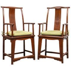Chinese Hardwood Yoke Back Scholar's Chairs