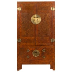 Chinese Hebei Province Early 20th Century Burl Wood Cabinet with Brass Medallion