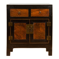 Chinese Hebei Two Toned Low Cabinet with Black Lacquer and Burl Wood Accents