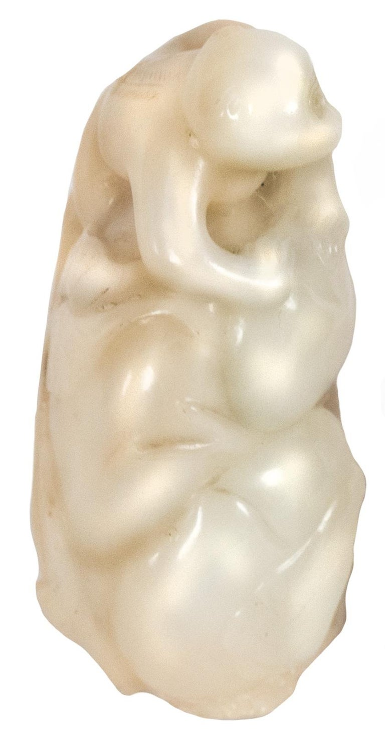 Carved Chinese Hetian Jade Monkey Carving For Sale