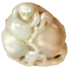 Chinese Hetian Jade Monkey Carving
