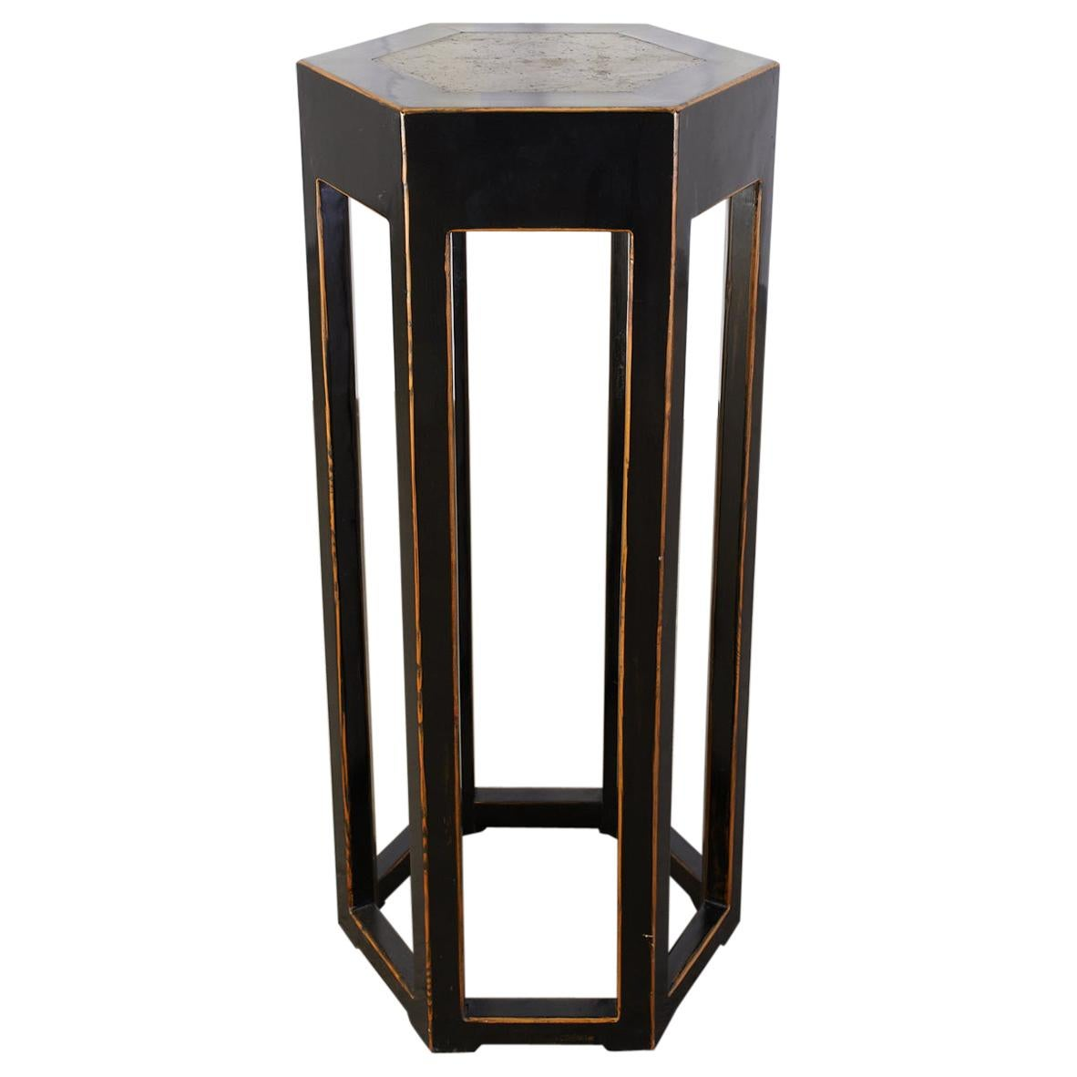 Chinese Hexagonal Lacquered Hardwood Pedestal Table