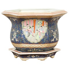 Chinese Hexagonal Planter with Hand Painted Courtyard Scenes Depicting Maidens