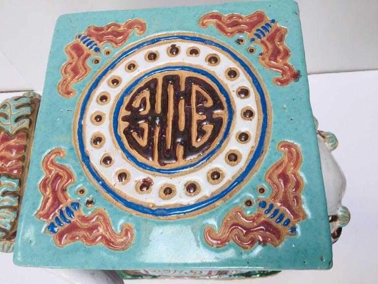 Chinese Hollywood Regency Ceramic Elephant Garden Stool For Sale 7