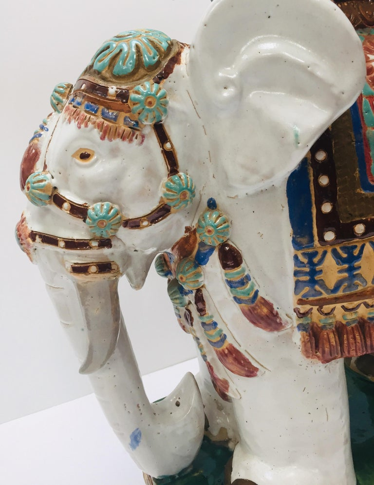 Chinese Hollywood Regency Ceramic Elephant Garden Stool For Sale 9