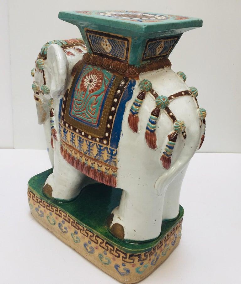 Chinese Hollywood Regency Ceramic Elephant Garden Stool For Sale 10