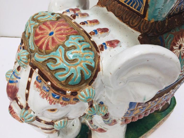 Chinese Hollywood Regency Ceramic Elephant Garden Stool For Sale 14