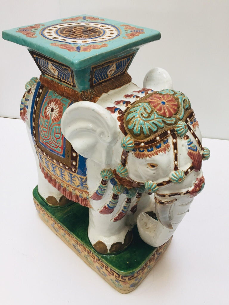 Chinese Hollywood Regency Ceramic Elephant Garden Stool