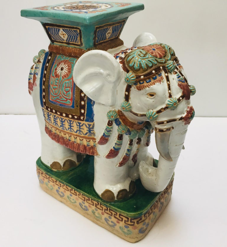 Chinese Hollywood Regency Ceramic Elephant Garden Stool In Good Condition For Sale In Los Angeles, CA