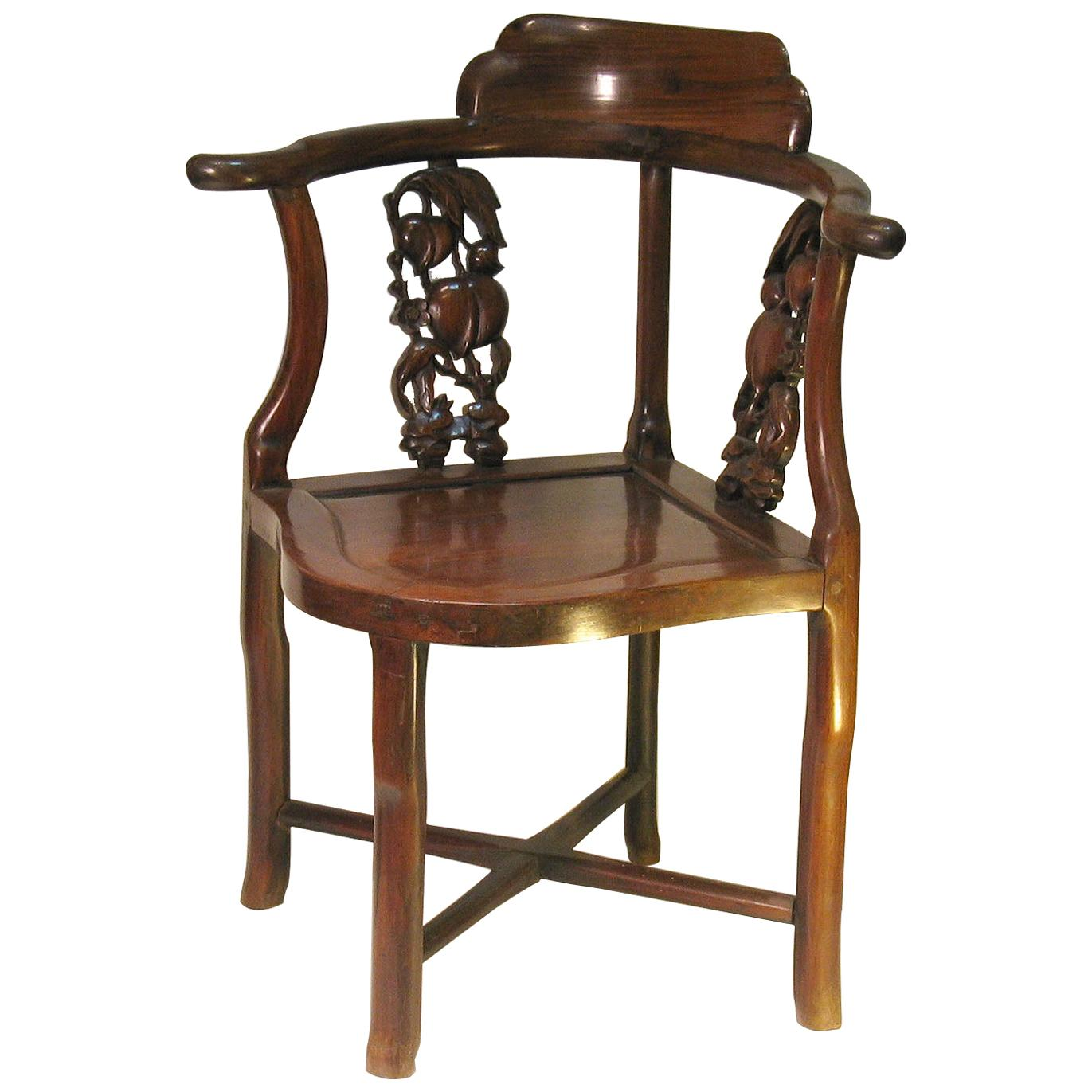 Chinese Hongmu Corner Chair, 19th Century