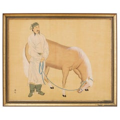 Chinese Horse and Groom Painting After Han Gan