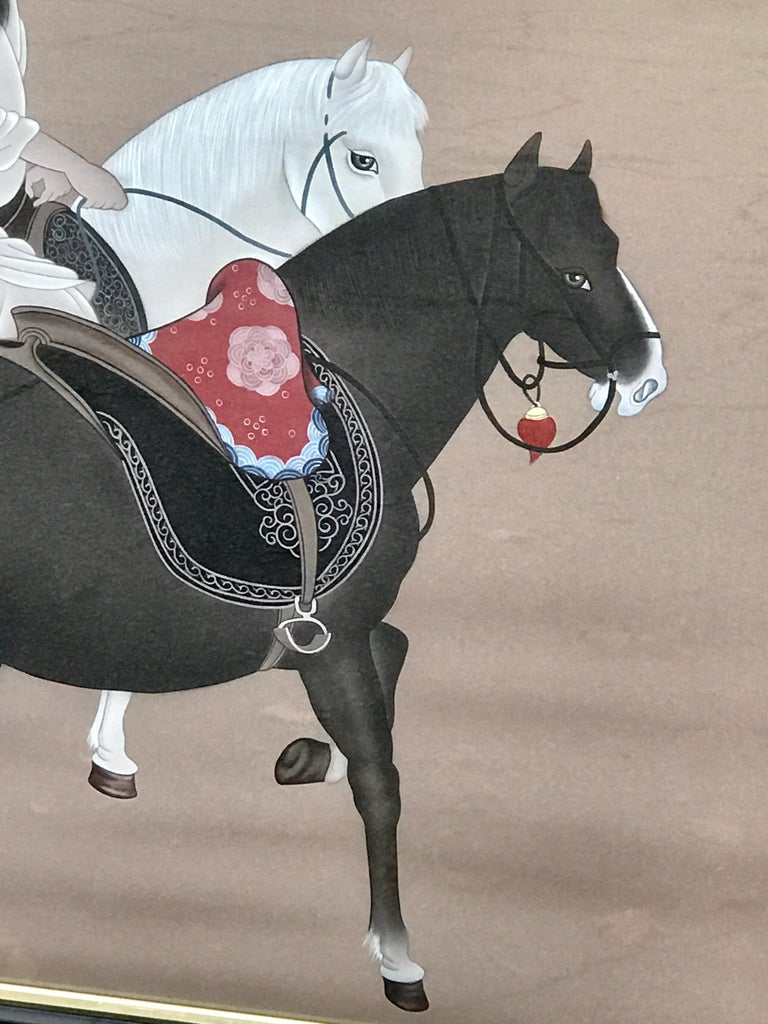 Chinese Horseman Painting, Signed Hai Shin For Sale 5