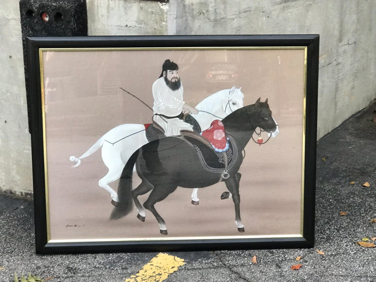 Chinese Horseman Painting, Signed Hai Shin For Sale 6