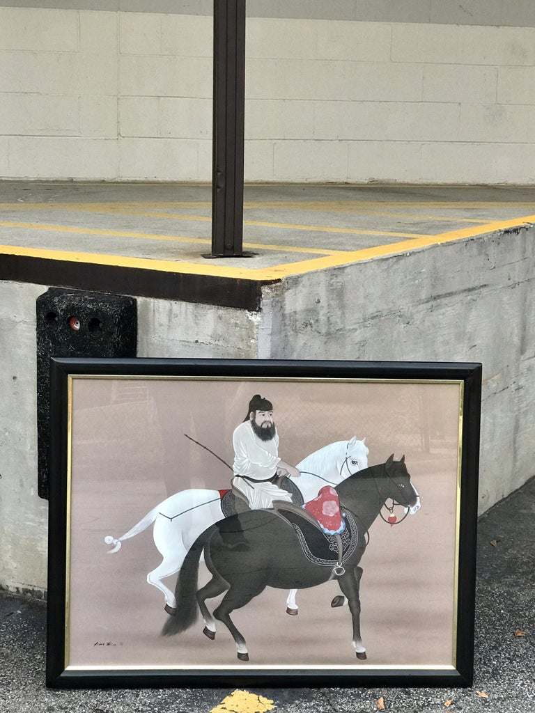 Chinese Horseman Painting, Signed Hai Shin For Sale 7
