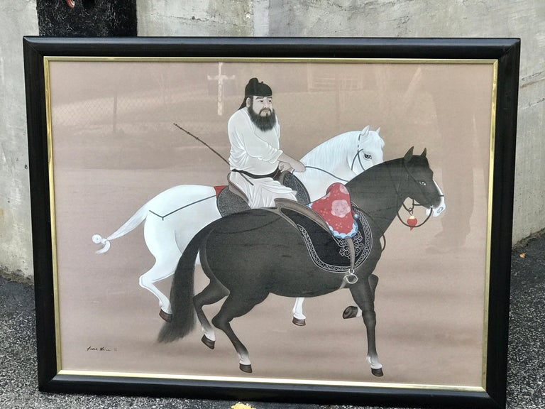 Chinese horseman painting, signed Hai Shin with seal mark. Exquisitely detailed in a vintage black lacquered frame  Work 39
