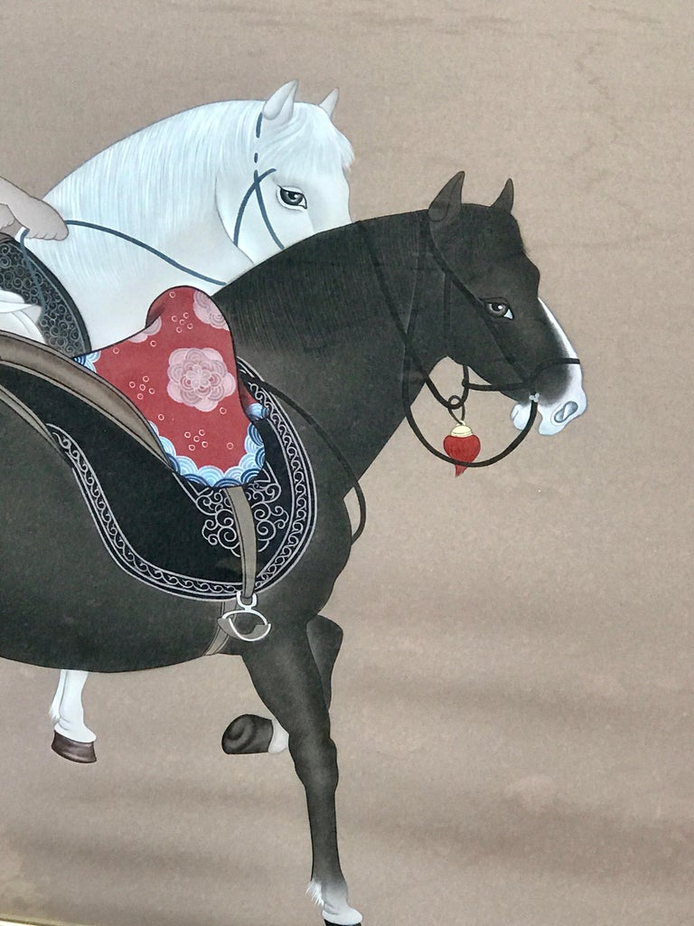 Chinese Export Chinese Horseman Painting, Signed Hai Shin For Sale