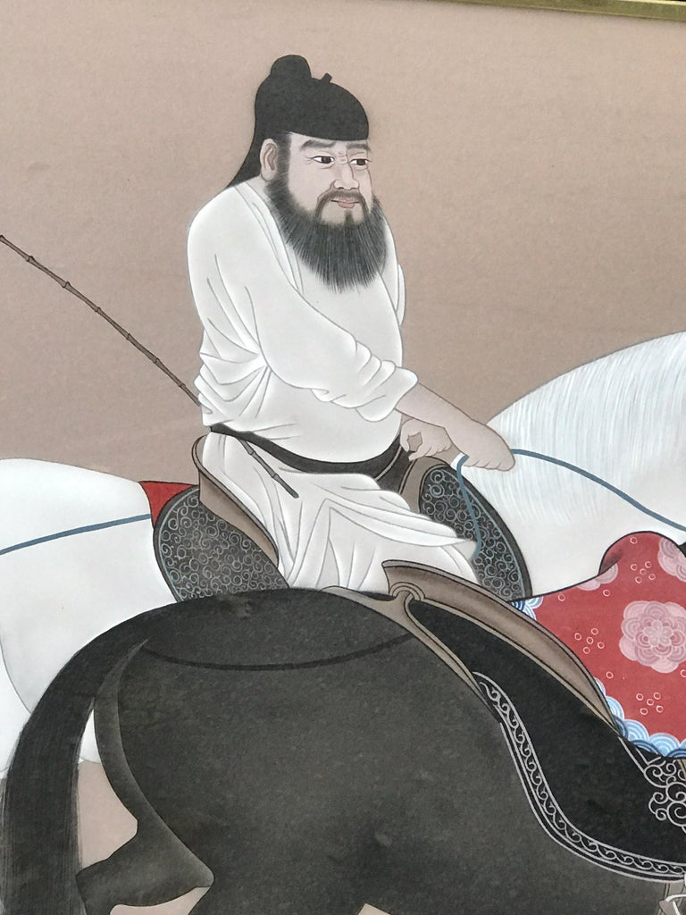 Chinese Horseman Painting, Signed Hai Shin In Good Condition For Sale In Atlanta, GA