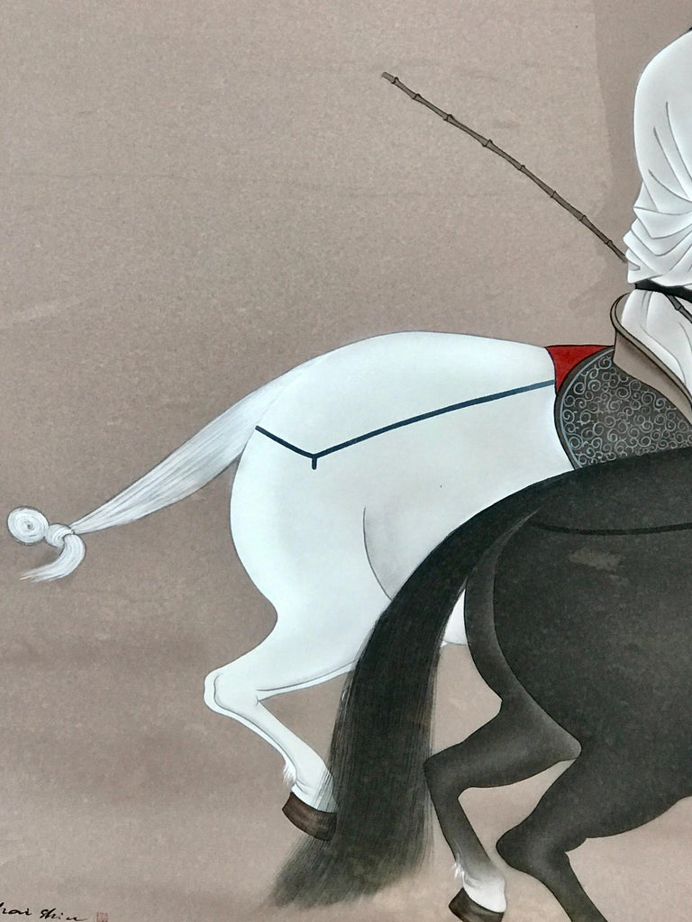 Chinese Horseman Painting, Signed Hai Shin For Sale 1
