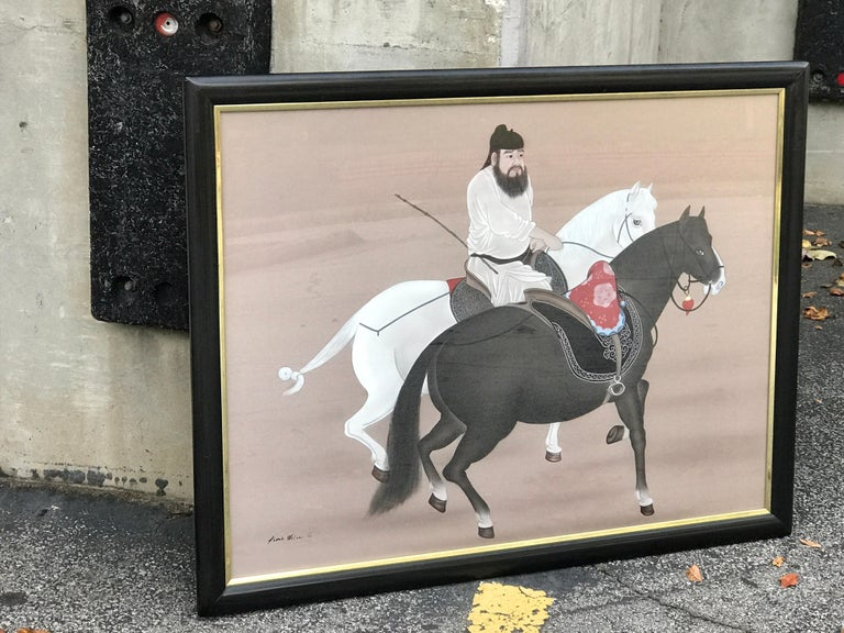 Chinese Horseman Painting, Signed Hai Shin For Sale 2