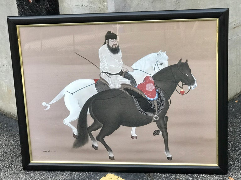 Chinese Horseman Painting, Signed Hai Shin For Sale 3