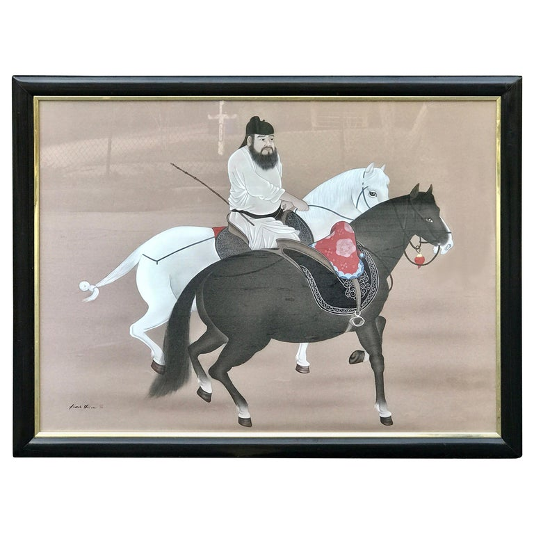 Chinese Horseman Painting, Signed Hai Shin For Sale