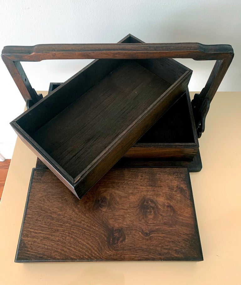 20th Century Chinese Huanghuali Stacked Carrying Box For Sale