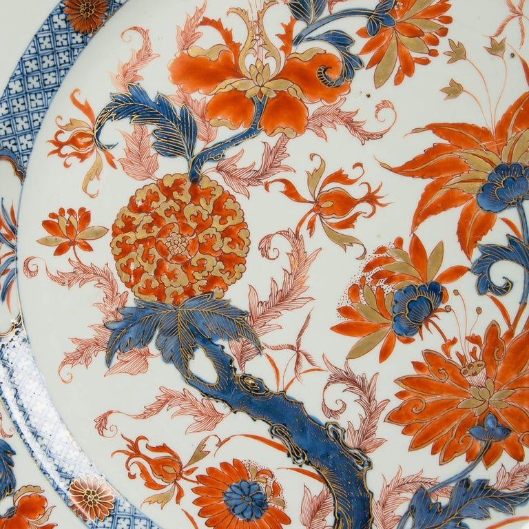 Glazed Antique Chinese Imari Charger with Floral Decoration For Sale