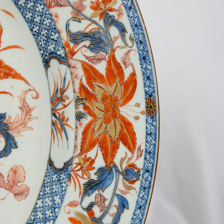 18th Century Antique Chinese Imari Charger with Floral Decoration For Sale