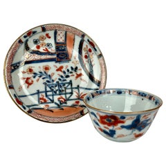 "Chinese Export Porcelain Handleless Tea Bowl and Saucer ""Chinese Imari"" Pattern"