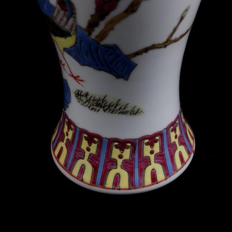 Chinese Imari Hand Painted Porcelain Pictorial Vase with Pheasants, 20th Century For Sale 6