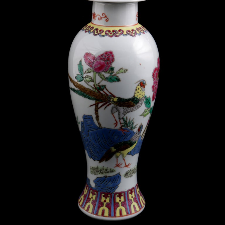 Chinese Imari Hand Painted Porcelain Pictorial Vase with Pheasants, 20th Century For Sale 8