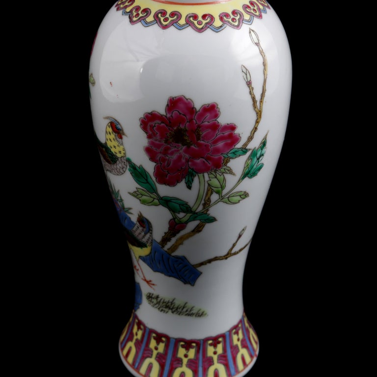 Chinese Imari Hand Painted Porcelain Pictorial Vase with Pheasants, 20th Century For Sale 4