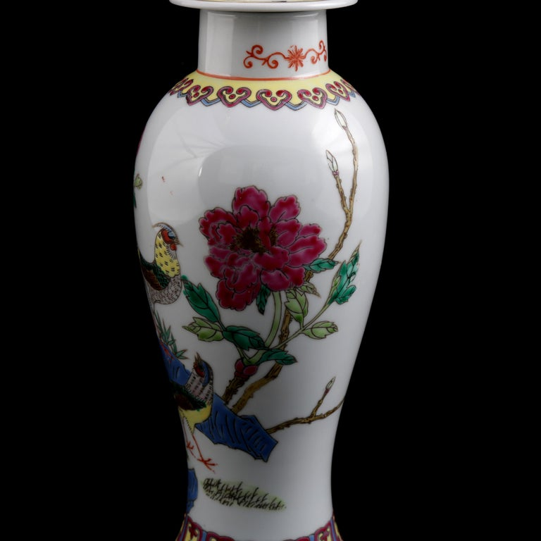 Chinese Imari Hand Painted Porcelain Pictorial Vase with Pheasants, 20th Century For Sale 5