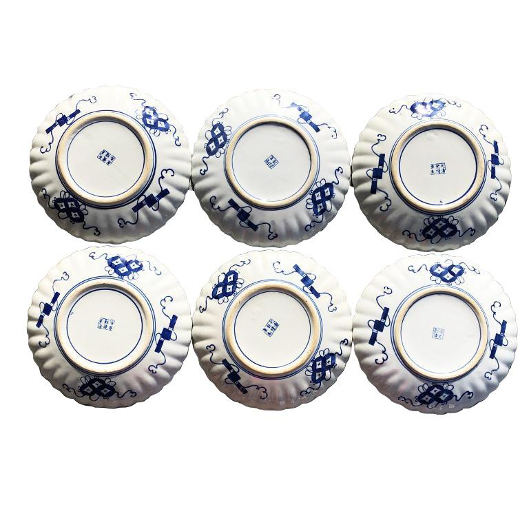 20th Century Chinese Imari Porcelain Kangxi Plates set of 6 in blue and orange signed For Sale