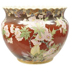 Chinese Import Pink Famille Rose Medallion Bulbous Jardinière Planter Vase
